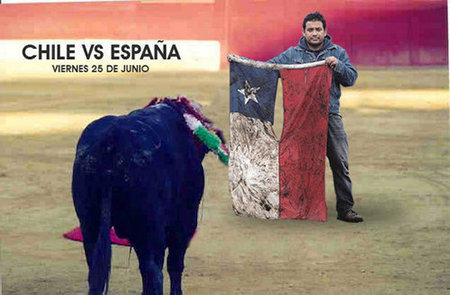 The Spanish bull vs the Chilean flag found in the ruins of Pelluhue after the 8.8 earthquake