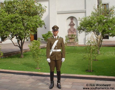 Carabinero in the Patio de los Naranjos of La Moneda, Santiago, Chile