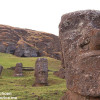 Close up of a Moai from Easter Island with his friends in the background