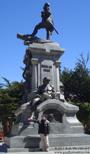 The statue in the main square of Punta Arenas, Chile