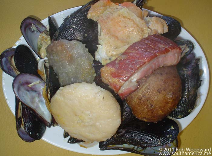 The typical Chilean dish of Curanto en olla