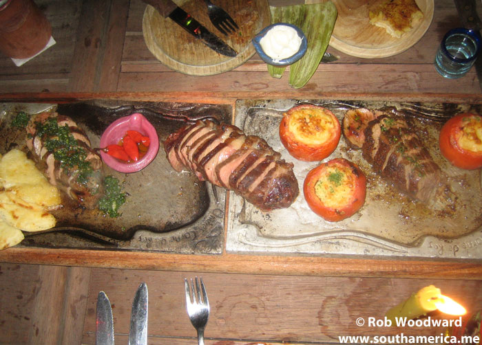Food from the Andrés Carne de Res Restaurant in Colombia