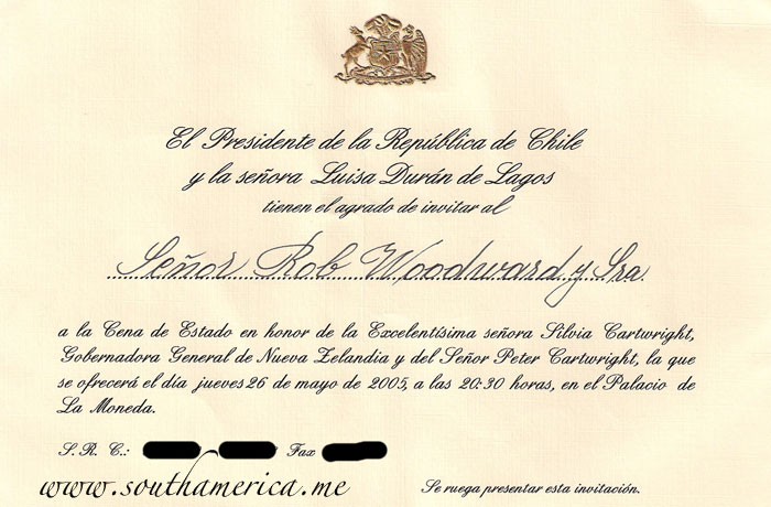 Official invitation to the dinner with the President of Chile at Palacio La Moneda.