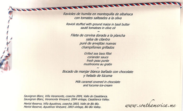 Official menu at our dinner with the President of Chile