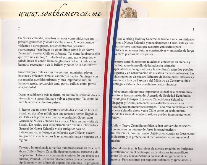 The translation of the Speech by the guest of honor at the dinner with the President of Chile